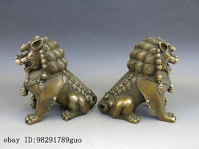 Chinese Brass Copper Animal Feng shui Foo Dog Lion town house Statue pair 5