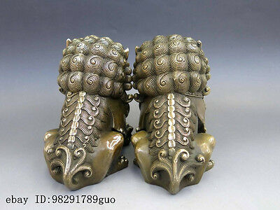 Chinese Brass Copper Animal Feng shui Foo Dog Lion town house Statue pair 6
