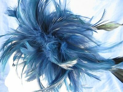 navy blue fascinator millinery feather brooch clip wedding ascot hat hair piece 3