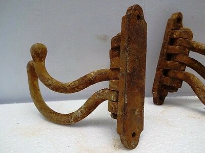 ! Pair 1880 Antique  Triple Coat Hook Cast Iron Hook Coat Rack Antique Edh 5