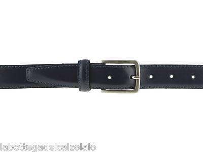 Cintura elegante da cerimonia in pelle blu 3cm semi lucida artigianale