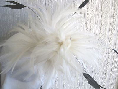 white fascinator millinery feather brooch clip ascot bridal wedding hat hair 3