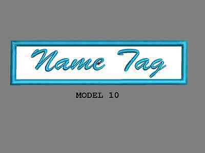 """Custom Embroidered 4"""" x 1"""" Name Tag Patch Motorcycle Biker Iron on/sew on Script 10"""