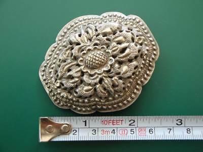 ANTIQUE ORIGINAL Balkan OTTOMAN lace forged engraved silver brooch decorat XIXc 9