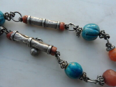 old Antique Vintage solid silver necklace ethnic coral, Egypt faience 1920s 10