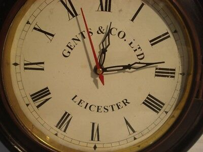 LARGE - Vintage Style GENTS & CO. - LEICESTER Wall Clock - Wooden & Brass (2798) 3