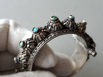 GORGEOUS ANTIQUE Ottoman SILVER filigree Bracelet with semi precious stones XIXc 7
