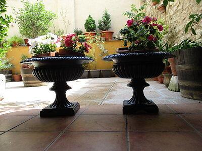 Jardineras De Hierro Fundido Antiguas Restauradas En Color Azul / Antique Fused 2