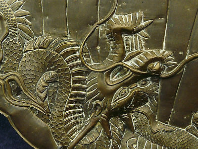 SUPERB ANTIQUE VERY HEAVY BRASS PLATE DRAGON & FOO DOG or TIGER 5