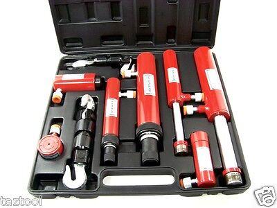 11 pc hydraulic ram auto body frame repair pull push ram lift hook tool kit h d