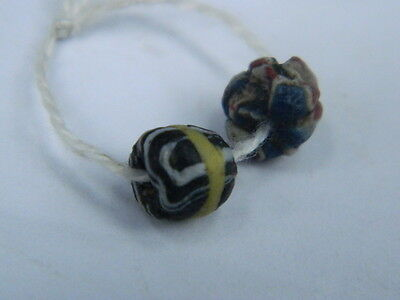 Ancient Mosaic Glass 2 Beads Roman 200 BC    #STC632 2