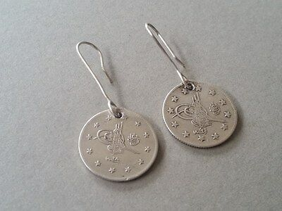 RARE Antique Silver Handmade 19th. Century from Year 1877-1293 Ottoman EARRINGS 3