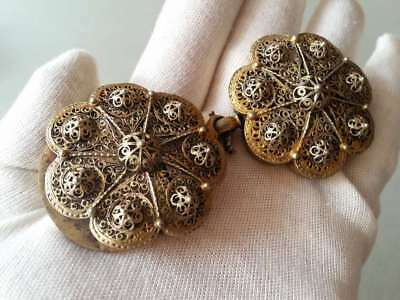 SUPERB ANTIQUE OTTOMAN GOLD PLATED hand-knitted SILVER filigree belt buckle XIXc 2