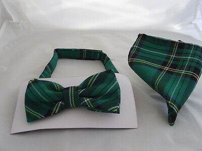 DD>Tartan-Green/Black Polyester Bow Tie + Cummerbund & Hanky Set>P&P2UK>1st Clas 4