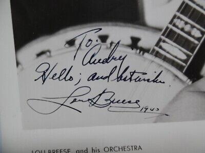 1940 LOU BREESE Jazz Bandleader Signed Inscribed Photo with Banjo Vintage ORIG. 2