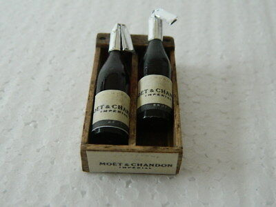 (F1-7) Dolls House Handmade Wooden Champagne Box With 2 X Bottles (Empty)