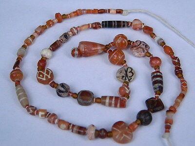 Ancient Etch Carnelian Beads Strand Roman 200 BC #BD15043 3