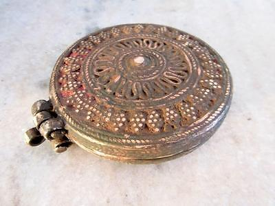 Antique Old Hand Carved Heavy Brass Beautiful Islamic Opium Unique Round Box 8