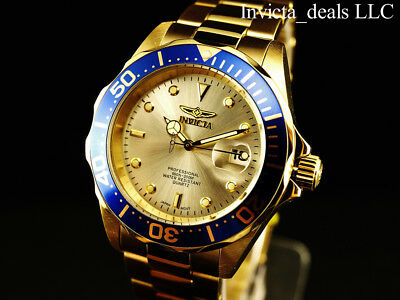 Invicta Mens 40mm Pro Diver Champagne Dial 18K Gold Plated Stainless Steel Watch 8