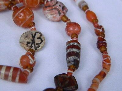 Ancient Etch Carnelian Beads Strand Roman 200 BC #BD15043 6