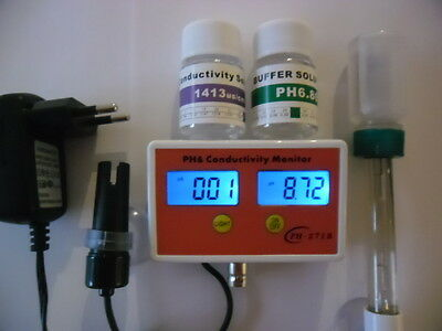 PH Messgerät Leitwert ph meter ph EC Leitwertmesser Aquarium  EC Wert NEU 2063 2