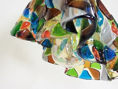 Vintage Industrial Chandelier Fused Glass Shades Horse Evener Wood Cast Iron 11