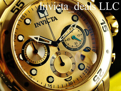 Invicta Men's 48mm PRO DIVER Scuba Chronograph Gold Dial 18K Gold Plated Watch 11