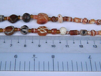 Ancient Etch Carnelian Beads Strand Roman 200 BC #BD15043 10