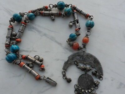 old Antique Vintage solid silver necklace ethnic coral, Egypt faience 1920s 2
