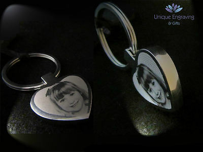 Personalised Photo Text Engraved Heart Keyring Keychain -Great Mothers Day Gift! 3