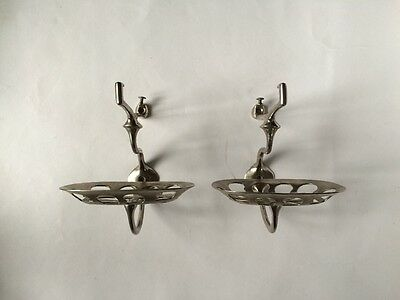 antique bathroom kitchen shelf brackets | nickel victorian soap holder deco vtg 3