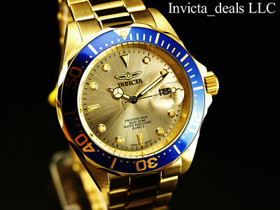 Invicta Mens 40mm Pro Diver Champagne Dial 18K Gold Plated Stainless Steel Watch 7