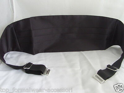 "<Deal> Quality Mens 100% Silk BLACK Cummerbund> up to 48"" Waist>P&P2UK>1st Class 2"