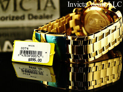 Invicta Men's 48mm PRO DIVER Scuba Chronograph Gold Dial 18K Gold Plated Watch 6