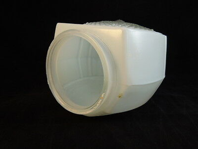 "Vintage scallop shaped light globe frosted w/ clear lens 6 x 5 w/ 2.75"" I.D open 3"