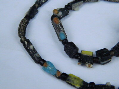 Ancient Mosaic Glass Fragment Beads Strand Roman 200 BC #BE5106 5