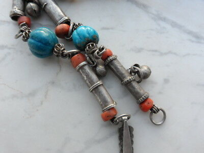 old Antique Vintage pure silver necklace ethnic coral , Egypt faience 9
