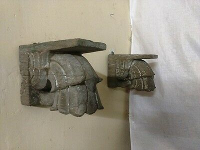 Antique Corbel Pair Wall Hanging Wooden Bracket Vintage corbel Home Decor Rare 11