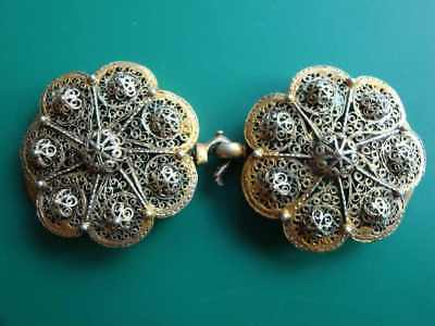 SUPERB ANTIQUE OTTOMAN GOLD PLATED hand-knitted SILVER filigree belt buckle XIXc 7