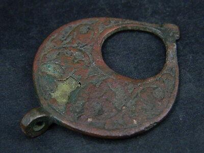 Ancient Bronze Pendant Islamic 1200 AD #BR7485 2