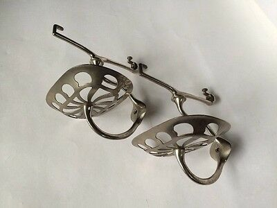 antique bathroom kitchen shelf brackets | nickel victorian soap holder deco vtg 2