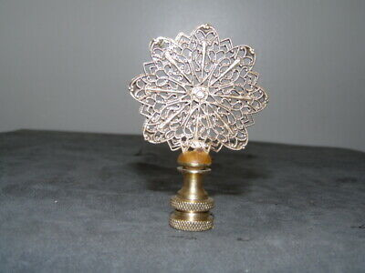 Antique Solid Brass Filigree Amber Anchored Rotating 15 Point Fan Finial 3