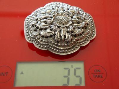 ANTIQUE ORIGINAL Balkan OTTOMAN lace forged engraved silver brooch decorat XIXc 10