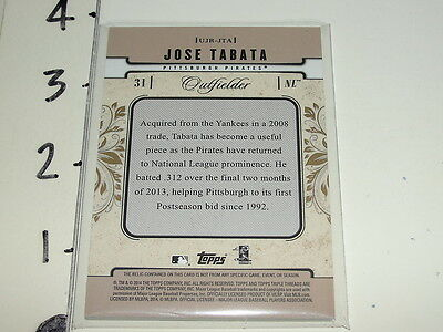 2014 Triple Threads JOSE TABATA Game Used 3 color Jersey SP/9 Pittsburgh PIRATES