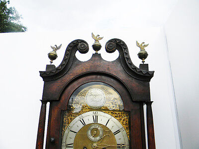 antique grandfather clock oak and mahogany case brass faced arched dial 8 day 3