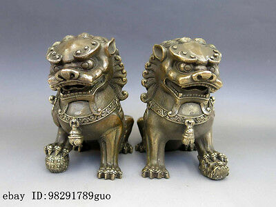 Chinese Brass Copper Animal Feng shui Foo Dog Lion town house Statue pair 4