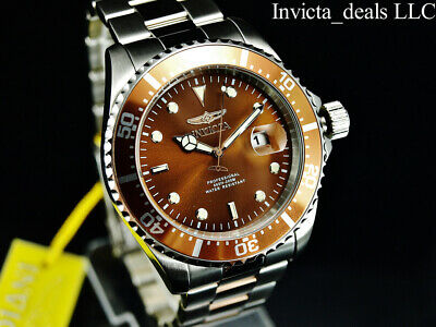 Invicta Men's 43mm Pro Diver SUBMARINER Brown Dial Silver Tone 200m SS Watch 9
