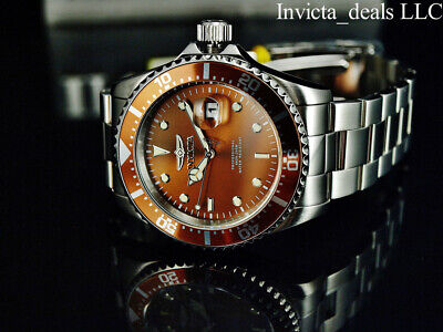 Invicta Men's 43mm Pro Diver SUBMARINER Brown Dial Silver Tone 200m SS Watch 3