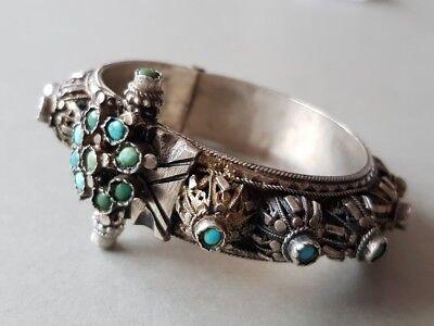 GORGEOUS ANTIQUE Ottoman SILVER filigree Bracelet with semi precious stones XIXc 8