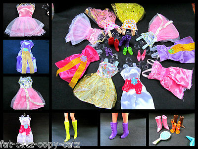 36 or 15 PIECES BARBIE DOLL DRESSES, SHOES & HANGERS CLOTHES SET UKSELL FREE P&P 4